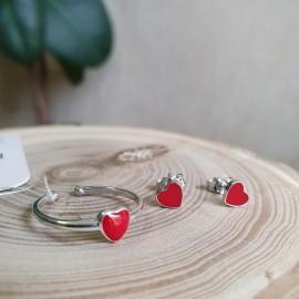 Серебряное кольцо с эмалью Сердечко