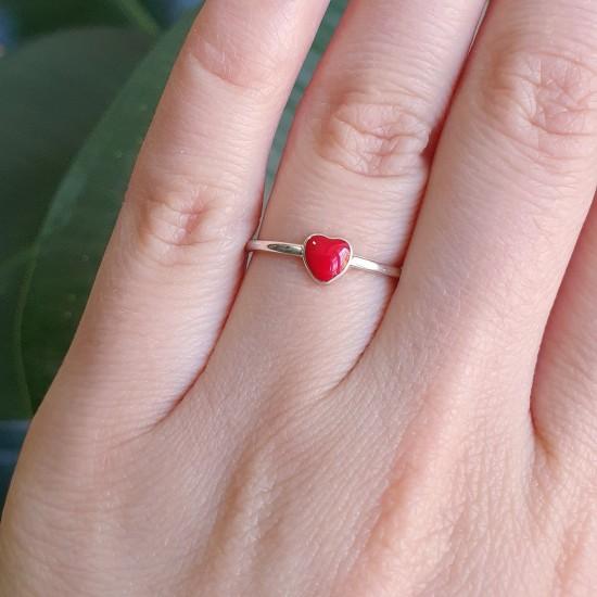 Серебряное кольцо с эмалью Сердечко ВС-175ер