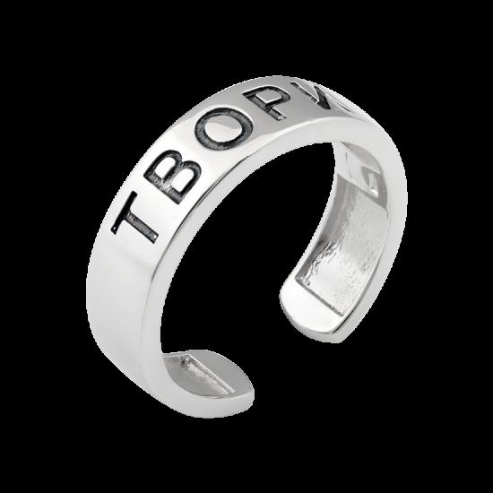 Серебряное кольцо ТВОРИ с черной эмалью и двумя сердечками ВС-188ч