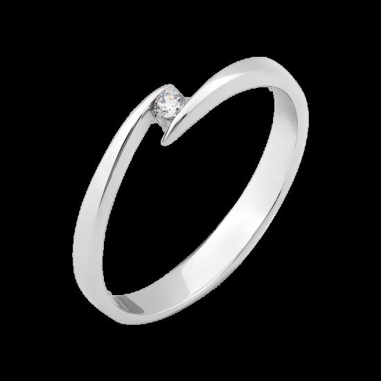 Серебряное кольцо Слияние с маленьким фианитом посередине СД-006(ф)
