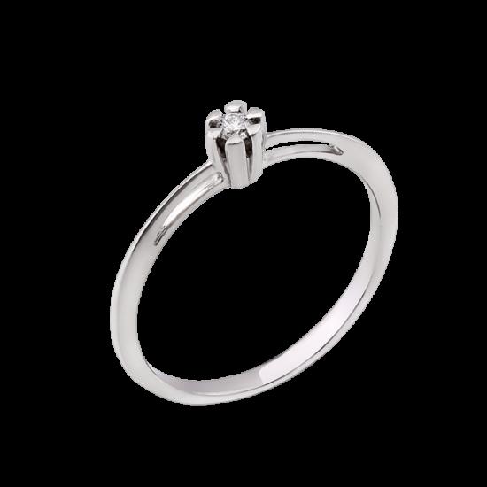 Серебряное кольцо с одним камнем мини Бутончик СД-008ф