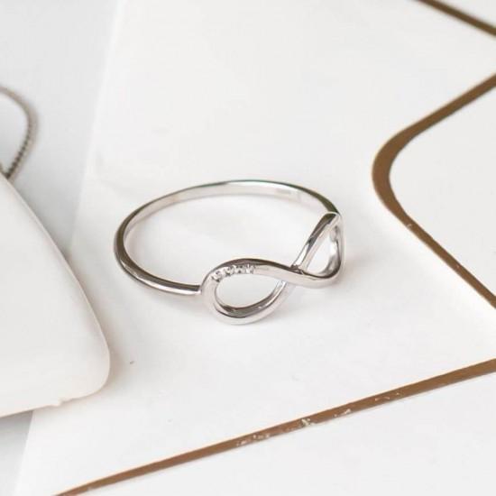 Серебряное кольцо Бесконечность с четырьмя маленькими фианитами СД-015р