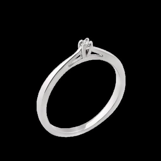 Серебряное кольцо с одним камнем Лучик СД-028ф