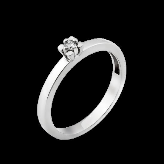Серебряное кольцо с одним камнем мини Бутончик СД-030ф