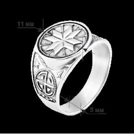 Мужское серебряное кольцо печатка Северная звезда с чернением