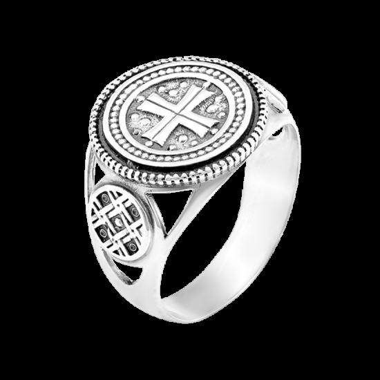 Мужское серебряное кольцо печатка Мальтийский крест с чернением Г-3140ч