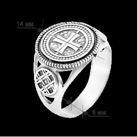 Мужское серебряное кольцо печатка Мальтийский крест с чернением