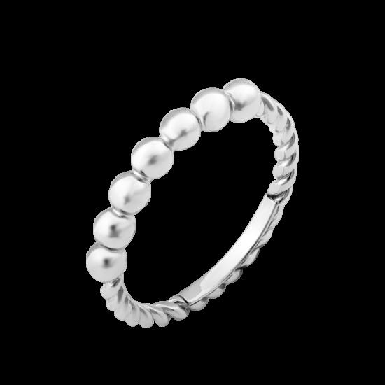 Серебряное кольцо без камней крупные Бусинки Л-017