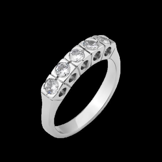 Серебряное кольцо с камнями Пять Квадратов Л-018р