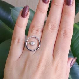 Серебряное кольцо с одним камнем Солнечная система