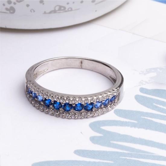 Серебряное кольцо с разноцветной дорожкой ЛК-0053