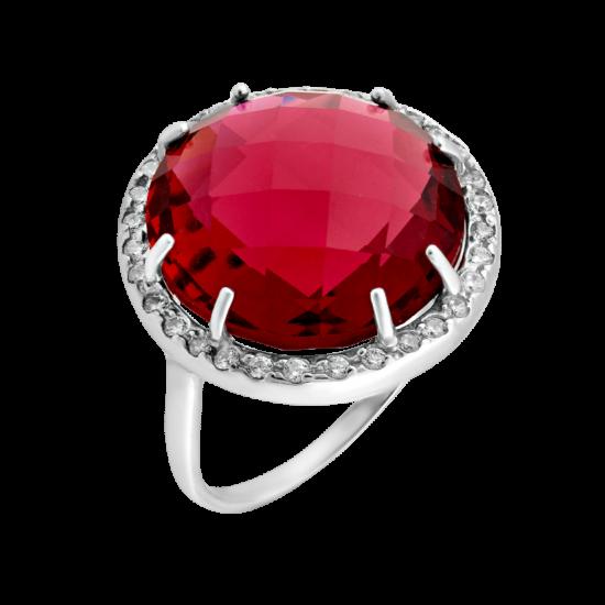 Серебряное кольцо с большим камнем ЛК-0063