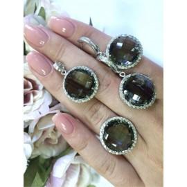 Серебряные серьги с большим камнем (круг)