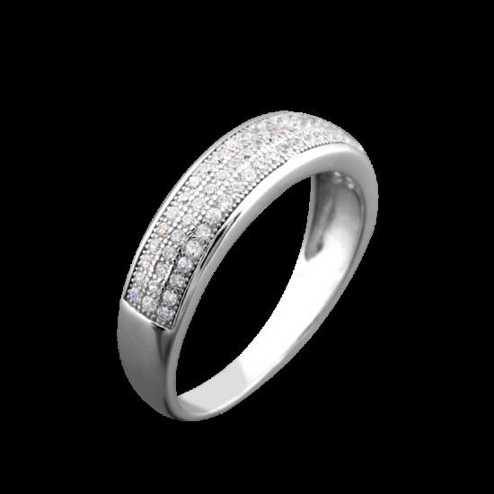 Серебряное кольцо с россыпью кристаллов ЛК-0067