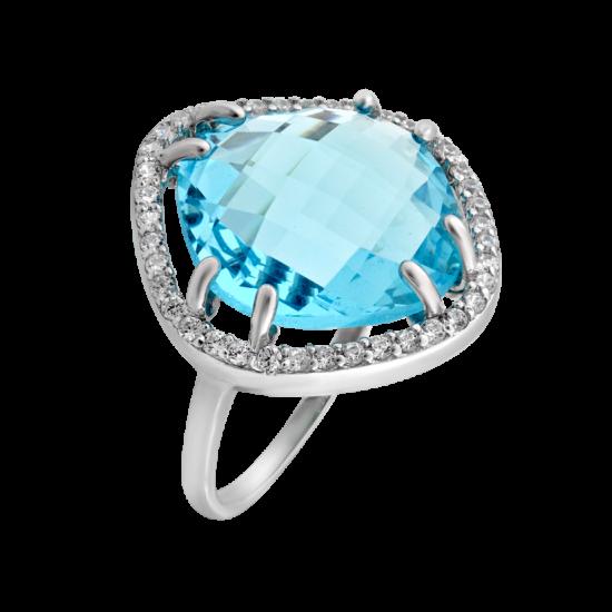 Серебряное кольцо с большим камнем ЛК-0072