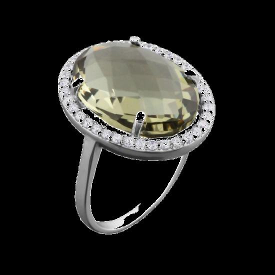 Серебряное кольцо с большим камнем ЛК-0073р(з)