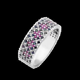 Комплект серебряный Орнамент тонкое кольцо и серьги