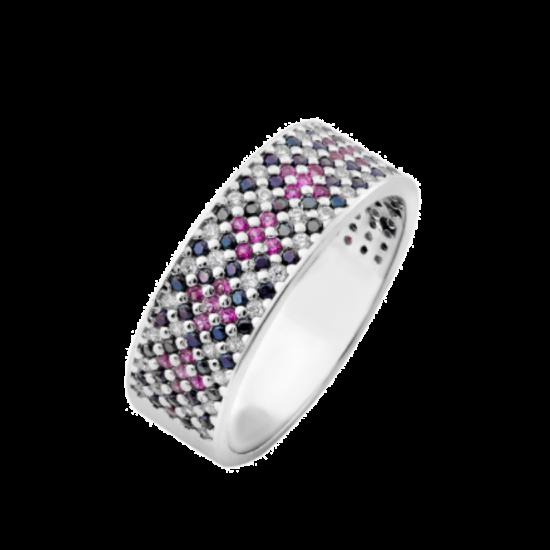 Серебряное кольцо узкий Орнамент розово-черные ромбы ЛК-0116-1тр