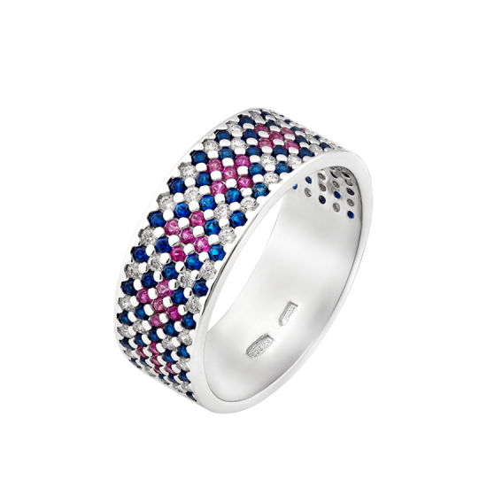 Серебряное кольцо узкий Орнамент розово-синие ромбы ЛК-0116-1ср