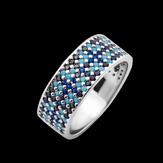 Кольцо серебряный узкий Орнамент голубые мальвы на черном ЛК-0116-2чбс