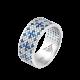 Серебряное кольцо узкий Орнамент синие цветы на белом ЛК-0116-3с