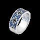 Серебряное кольцо узкий Орнамент черные цветы на синем ЛК-0116-4сч