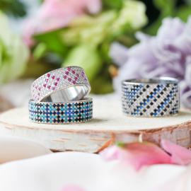 Серебряное кольцо широкий Орнамент сине-черный с голубым