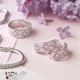 Серебряное кольцо узкий Орнамент розовые ромбы на белом ЛК-0116-5р