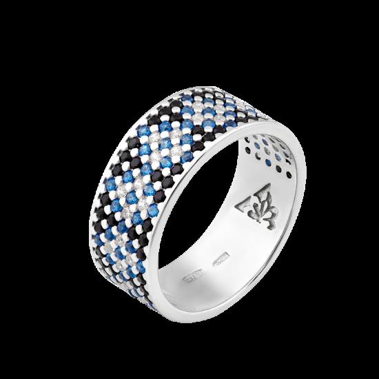 Серебряное кольцо узкий Орнамент синие ромбы на черном ЛК-0116-6чс