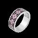 Серебряное кольцо узкий Орнамент розовые ромбы на черном ЛК-0116-6чр