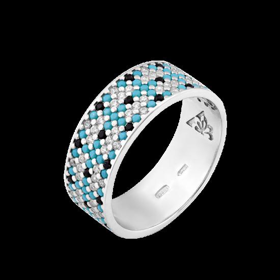 Серебряное кольцо узкий Орнамент голубые цветы ЛК-0116-7бч