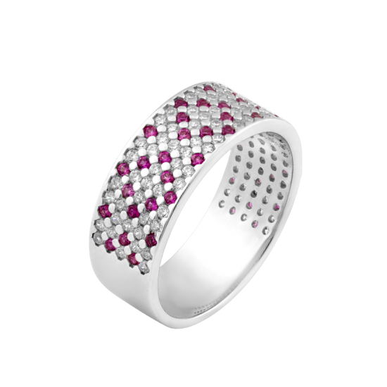 Серебряное кольцо узкий Орнамент розовые ромбы ЛК-0116-8р