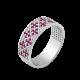 Серебряное кольцо узкий Орнамент розовые цветы ЛК-0116-9р