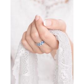 Серебряное кольцо узкий Орнамент розовые цветы
