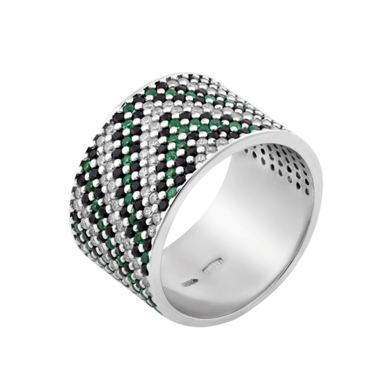 Серебряное кольцо широкий Орнамент зелено-черный ЛК-0117-6чз
