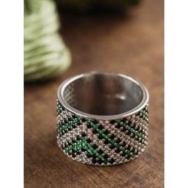 Серебряное кольцо широкий Орнамент зелено-черный