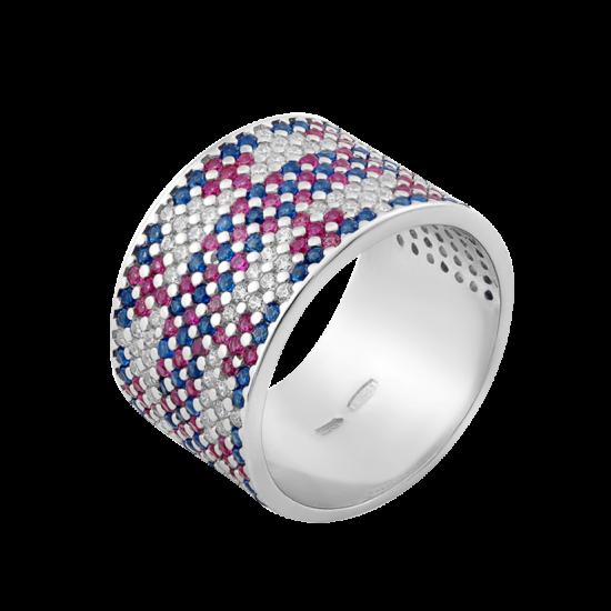 Серебряное кольцо широкий Орнамент розово-синий ЛК-0117-9рс