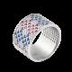 Серебряное кольцо широкий Орнамент розово-синие ромбы ЛК-0117-10рс