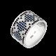 Серебряное кольцо широкий Орнамент сине-черные ромбы ЛК-0117-1тс