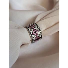 Серебряное кольцо широкий Орнамент сине-черные ромбы