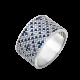 Серебряное кольцо широкий Орнамент синие ромбы ЛК-0117-2с