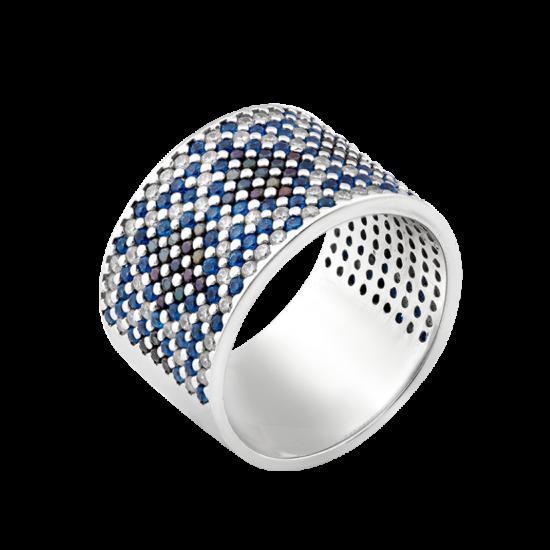 Серебряное кольцо широкий Орнамент черно-синие ромбы ЛК-0117-4ст