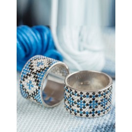 Серебряное кольцо широкий Орнамент черно-синие ромбы
