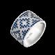 Серебряное кольцо широкий Орнамент синие ромбы ЛК-0117-5с