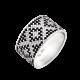 Серебряное кольцо широкий Орнамент черные ромбы ЛК-0117-5ч