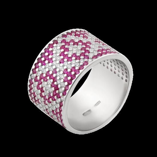 Серебряное кольцо широкий Орнамент розовые ромбы  ЛК-0117-5р