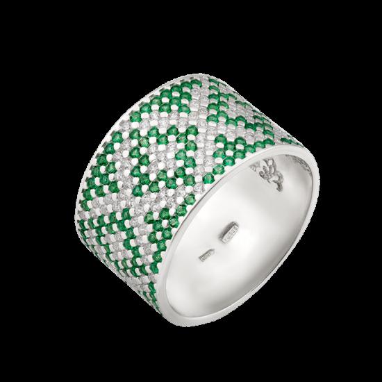 Серебряное кольцо широкий Орнамент зеленые ромбы ЛК-0117-5з