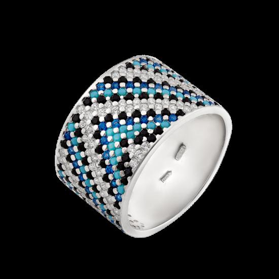 Серебряное кольцо широкий Орнамент сине-черный с голубым ЛК-0117-7тсб