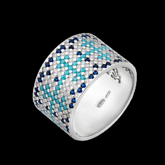 Серебряное кольцо широкий Орнамент сине-голубой ЛК-0117-8бс