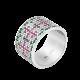 Серебряное кольцо широкий Орнамент розово-зеленый ЛК-0117-8рз